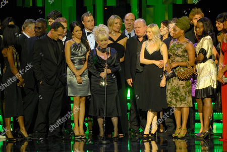 Cast of 'Eastenders including Diane Parish, Rudolph Walker, Perry Fenwick, Lacey Turner, Ricky Groves, Barbara Windsor, Laurie Brett, Dave Hill, Steve McFadden, Natalie Cassidy, Angela Wynter and Petra Letang