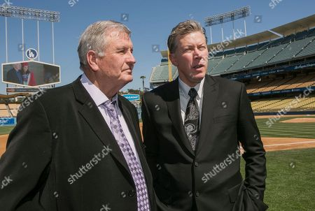Tommy John, Orel Hershiser Los Angeles Dodgers former pitchers, Tommy John, left, and Orel Hershiser attend a memorial for their late friend, Dr. Frank Jobe at Dodger Stadium in Los Angeles . Dr. Frank Jobe, was the surgeon who pioneered the elbow procedure that became known as Tommy John surgery and saved the careers of countless pitchers. Jobe also performed the first major reconstructive shoulder surgery on pitcher Hershiser. Jobe died last month at 88