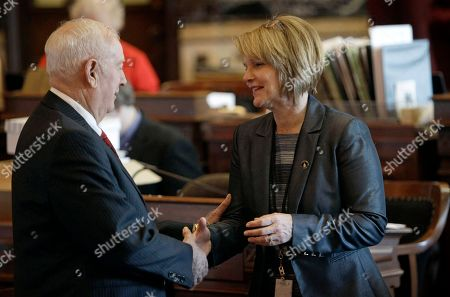 """Liz Mathis, Wally Horn Sen. Liz Mathis, right, D-Robins, greets Sen. Wally Horn, D-Cedar Rapids, left, at the Statehouse in Des Moines, Iowa. Mathis said that Secretary of State Matt Schultz' chief deputy Jim Gibbons was a """"no-show employee"""" for seven months before resigning in December 2012. She is requesting an audit into the arrangement that allowed Gibbons to keep a $126,000 annual salary after his job was eliminated"""