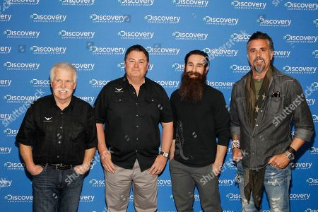 Wayne Carini, Mike Brewer, Aaron Kaufman, Richard Rawlings IMAGE DISTRIBUTED FOR DISCOVERY COMMUNICATIONS INC - Wayne Carini, Mike Brewer, Aaron Kaufman, and Richard Rawlings, are seen at the Discovery Communications 2014 Upfront Presentation at Jazz Lincoln Center, in New York City, on