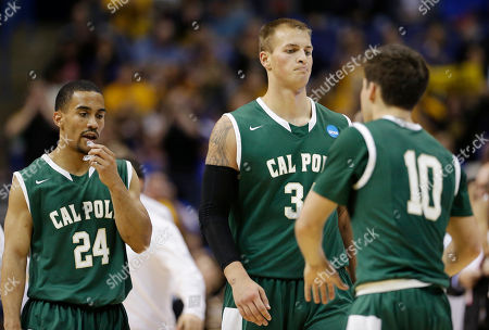 Stock Picture of Jamal Johnson, Brian Bennett, Ridge Shipley Cal Poly guard Jamal Johnson (24), forward Brian Bennett (34) and guard Ridge Shipley (10) gather between plays against Wichita State during the second half of a second-round game in the NCAA college basketball tournament, in St. Louis