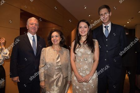 Crown Prince Alexander of Serbia and Crown Princess Katherine with Prince Leka II of Albania and Elia Zaharia
