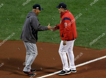 Terry Francona, John Farrell Cleveland Indians manager Terry Francona, left, shakes hands with Boston Red Sox manager John Farrell at home plate before Game 3 of baseball's American League Division Series, in Boston