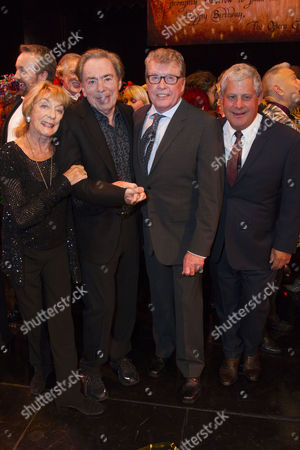 Stock Picture of Gillian Lynne (Choreographer), Sir Andrew Lloyd Webber (Music), Michael Crawford and Cameron Mackintosh (Producer) backstage