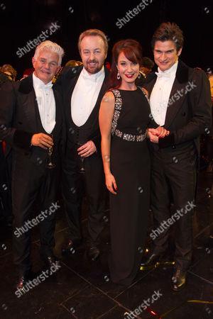 Scott Davies (The Phantom of the Opera), John Owen-Jones (The Phantom of the Opera), Sierra Boggess (Christine Daae) and Gardar Thor Cortes (The Phantom of the Opera) backstage