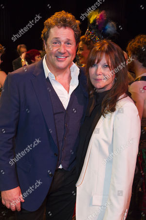 Michael Ball (Raoul) and Cathy McGowan backstage