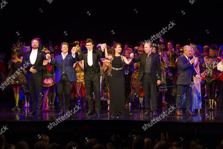 John Owen-Jones (The Phantom of the Opera), Michael Ball (Raoul), Gardar Thor Cortes (The Phantom of the Opera), Sierra Boggess (Christine Daae), Sir Andrew Lloyd Webber (Music) and Cameron Mackintosh (Producer) during the curtain call