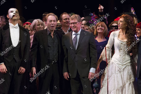 Ben Forster (The Phantom of the Opera), Sir Andrew Lloyd Webber (Music), Michael Crawford and Celinde Schoenmaker (Christine Daae) during the curtain call