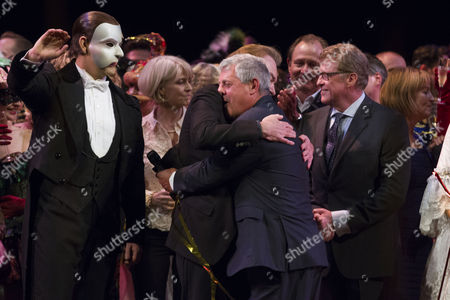 Ben Forster (The Phantom of the Opera), Sir Andrew Lloyd Webber (Music), Cameron Mackintosh (Producer) and Michael Crawford during the curtain call