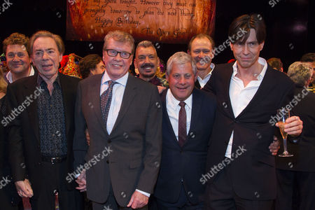 Stock Picture of Michael Ball (Raoul), Sir Andrew Lloyd Webber (Music), Michael Crawford, Cameron Mackintosh (Producer) and Charles Hart (Lyrics) backstage
