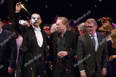 Ben Forster (The Phantom of the Opera), Sir Andrew Lloyd Webber (Music) and Michael Crawford during the curtain call