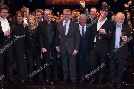 Stock Photo of Gardar Thor Cortes (The Phantom of the Opera), Sierra Boggess (Christine Daae), Gillian Lynne (Choreographer), Michael Ball (Raoul), Sir Andrew Lloyd Webber (Music), Michael Crawford, Cameron Mackintosh (Producer), Charles Hart (Lyrics) and Richard Stilgoe (Author/Additional Lyrics) backstage