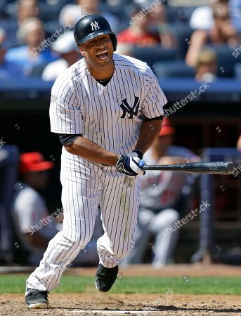 Vernon Wells New York Yankees' Vernon Wells reacts after grounding out to third in the fifth inning of a baseball game against the Los Angeles Angels, in New York