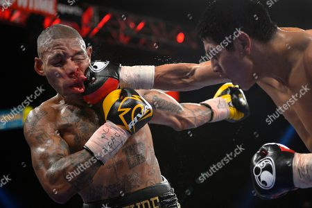 Pablo Cesar Cano, Ashley Theophane Pablo Cesar Cano, right, lands a punch against Ashley Theophane in the eighth round during a welterweight fight in Las Vegas. The photo was part of a series of images by photographer Mark J. Terrill which won the Thomas V. diLustro best portfolio award for 2013 given out by the Associated Press Sports Editors during their annual winter meeting in Indianapolis