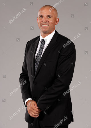 Jason Kidd Head Coach Jason Kidd poses for photos during the Brooklyn Nets media day, at the Barclay's Center, in New York
