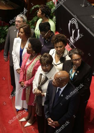 GK Butterfield, Robin Kelly, Sheila Jackson Lee, Eddie Bernice Johnson, John Lewis, Yvette Clarke, Gwen Moore, Barbara Lee, Marcia Fudge U.S. Rep. John Lewis, D-Ga., front right, joins other member of the congressional black caucus at the 16th Street Baptist Church in Birmingham, Ala., . They were posed to be the background for a medal ceremony for family members of four young girls who were killed by a bomb on Sept. 15, 1963. Front row from left are U.S. Rep. G.K. Butterfield, D-N.C., U.S. Rep. Robin Kelly, D-Ill., U.S. Rep. Sheila Jackson Lee, D-Tex., U.S. Rep. Eddie Bernice Johnson, D-Tex., John Lewis. Back row from left are U.S. Rep. Yvette Clarke, D-NY., U.S. Rep. Gwen Moore, D-Wis., U.S. Rep. Barbara Lee, D-Calif., and U.S. Rep. Marcia Fudge, D-Ohio