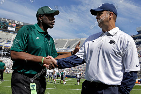 Bill O' Brien, Ron English Penn State head coach Bill O' Brien, right, and Eastern Michigan head coach Ron English shake hands before an NCAA college football game between Penn State and Eastern Michigan in State College, Pa
