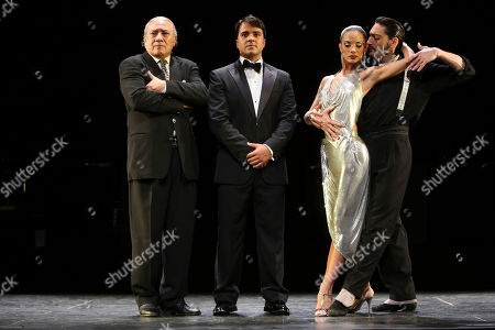 """Stock Picture of Luis Fonsi, Victoria Galoto, Juan Paulo Horvath, Luis Bravo Luis Fonsi, second from left, poses for photographers with creator and director Luis Bravo, left, and fellow cast members Victoria Galoto, second from right, and Juan Paulo Horvath during a press preview of """"Forever Tango,"""" at the Walter Kerr theatre in New York"""