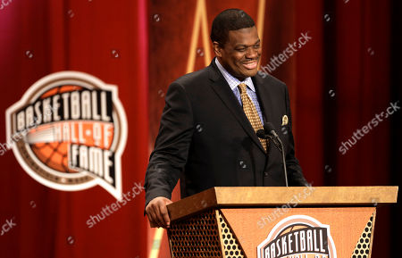 Stock Image of Bernard King Inductee Bernard King speaks during the enshrinement ceremony for the 2013 class of the Basketball Hall of Fame, at Symphony Hall in Springfield, Mass