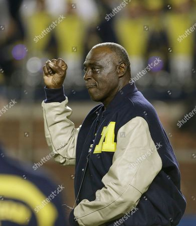 Stock Picture of Cazzie Russell Former Michigan basketball great Cazzie Russell is introduced during the third quarter of an NCAA college football game between Michigan and Notre Dame in Ann Arbor, Mich
