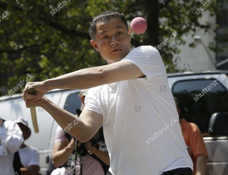 John Liu New York City mayoral hopeful John Liu participates in a stickball challenge in New York