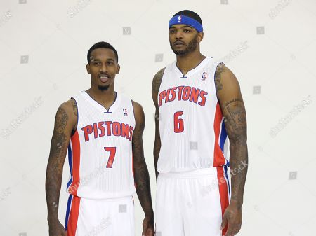 Stock Picture of Brandon Jennings, Josh Smith Detroit Pistons guard Brandon Jennings (7) and forward Josh Smith are photographed during the Pistons' media day at their practice facility in Auburn Hills, Mich