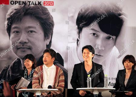 Japanese director Hirokazu Koreeda, center left, and actor Masaharu Fukuyama, center right, attend an open talk during Busan International Film Festival at BIFF Village on Haeundae beach in Busan, South Korea