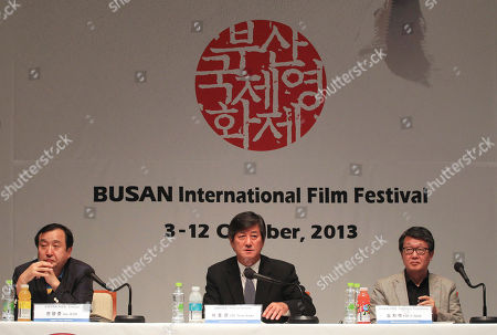 Lee Yong-kwan, Kim Ji-seok, Jay Jean Lee Yong-kwan, director of the Busan International Film Festival, center, speaks during a press conference in Seoul, South Korea, . The festival will be held at the Busan Cinema Center and seven other movie theaters in the southern port city of Busan from Oct. 3-12. At left is Jay Jean, executive of Busan International Film Festival, and right is Kim Ji-seok, chief programmer of Busan International Film Festival