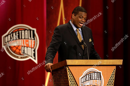 "Stock Picture of Bernard King Inductee Bernard King speaks during the enshrinement ceremony for the 2013 class of the Naismith Memorial Basketball Hall of Fame at Symphony Hall in Springfield, Mass. In an ESPN ""30 For 30"" documentary airing, about the friendship between King and teammate Ernie Grunfeld, King publicly discusses for the first time incidents of racism he says he encountered while in college"