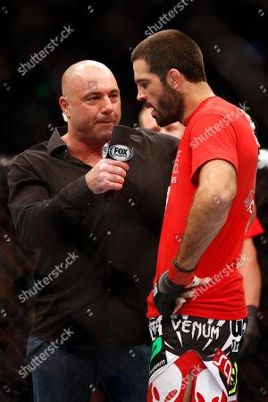 Matt Brown, Joe Rogan Matt Brown talks with Joe Rogan after his win over Mike Pyle in their UFC on Fox Sports 1 mixed martial arts bout in Boston, Saturday, August 17,2013. Brown won via 1st round TKO