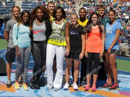 Stock Picture of Michelle Obama, Sloane Stephens, Serena Williams, Denis Kudla, Jack Sock, Melanie Oudin, Donald Young From left, Denis Kudla, Sloane Stephens, Serena Williams, Jack Sock, first lady Michelle Obama, center, Melanie Oudin, Donald Young, Christina McHale, Ryan Harrison, and Madison Keys, pose for a photograph at the 18th Annual Arthur Ashe Kids' Day, the unofficial kickoff to the 2013 US Open tennis tournament, in New York