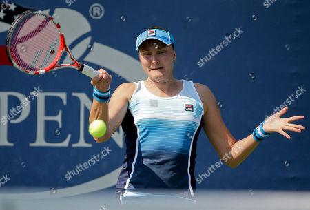 Nadia Petrova Nadia Petrova of Russia returns a shot against Julia Glushko of Israel during the first round of the 2013 U.S. Open tennis tournament, in New York