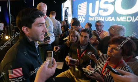 Evan Lysacek Olympic figure skating champion Evan Lysacek makes remarks during a press conference during the USOC 2013 team USA media summit, in Park City, in Utah. Lysacek has a torn labrum, and will miss next month's Skate America. Lysacek was initially diagnosed with an abdominal tear after a fall in August. But he says he continued to feel pain, and further tests revealed the tear