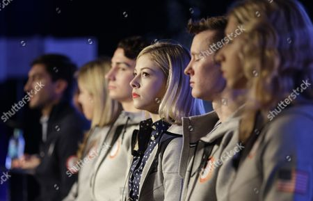 Stock Picture of Gracie Gold, Evan Lysacek, Ashley Wagner, Max Aaron, Jeremy Abbott, Agnes Zawadzki American figure skater Gracie Gold, center, looks on as she sits with fellow American figure skaters, from left to right, Evan Lysacek, Ashley Wagner, Max Aaron, Jeremy Abbott and Agnes Zawadzki during a news conference at the USOC 2013 team USA media summit, in Park City,Utah
