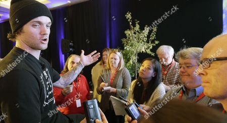 Louie Vito Snowboarder Louie Vito speaks with reporters at the U.S. Olympic Committee media summit, in Park City, Utah