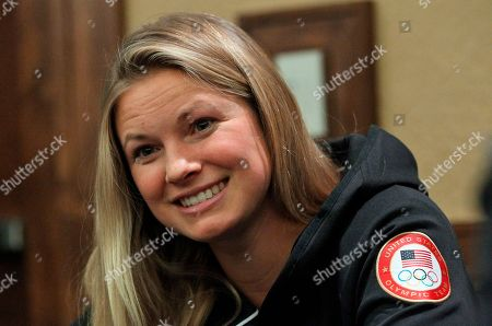 Jessie Diggins Cross-country skier Jessie Diggins speaks with reporters during a news conference at the U.S. Olympic Committee media summit, in Park City, Utah