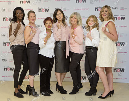 News - M&s Launches Lingerie Collection For Breast Cancer - (left To Right) Donna Fraser Helen Bliss Sharon Jhheent Hannah Gardner Leonie Saysell Rachel Cholerton And Jo Ostermeyer.