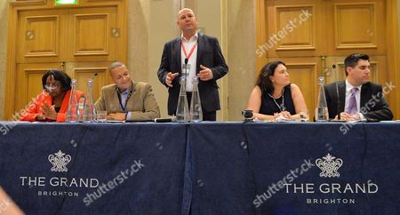 Stock Photo of Labour Party Annual Conference The Brighton Centre Brighton East Sussex. (l To R) Diane Abbott Clive Lewis Mp Asst Unite Union Leader Steve Turner Katy Clark Former Scottish Labour Mp And Richard Burgon Mp At A Labour Assembly Against Austerity Fringe Meeting.