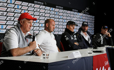Iain Murray, Max Sirena, Dean Barker, Iain Percy, Jimmy Spithill From left, regatta director Iain Murray takes questions as Max Sirena, of Luna Rossa Challenge, from Italy; Dean Barker, of Emirates Team New Zealand; Iain Percy, of Artemis Racing, from Sweden; and Jimmy Spithill, of Oracle Team USA, listen during a news conference of the America's Cup sailing skippers, in San Francisco. The first race in the challenger series is scheduled for Sunday