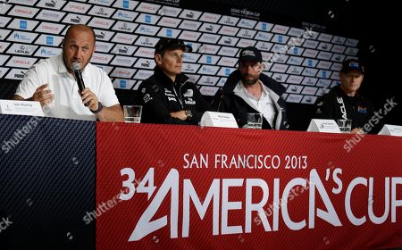 Max Sirena, Dean Barker, Iain Percy, Jimmy Spithill From left, Max Sirena of Luna Rossa Challenge from Italy, Dean Barker of Emirates Team New Zealand, Iain Percy of Artemis Racing from Sweden, and Jimmy Spithill of Oracle Team USA take questions during a news conference of the America's Cup sailing skippers in San Francisco. The first race in the challenger series is scheduled for Sunday