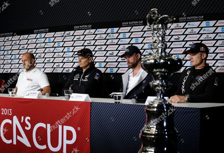 Max Sirena, Dean Barker, Iain Percy, Jimmy Spithill From left, Max Sirena, of Luna Rossa Challenge, from Italy; Dean Barker, of Emirates Team New Zealand; Iain Percy, of Artemis Racing, from Sweden; and Jimmy Spithill, of Oracle Team USA, take questions during a news conference of the America's Cup sailing skippers, in San Francisco. The first race in the challenger series is scheduled for Sunday