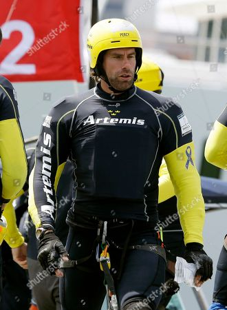 Iain Percy Iain Percy, skipper of Artemis Racing, of Sweden, looks over his boat while docking out for the start of their America's Cup challenger series semifinal race against Luna Rossa Challenge of Italy, in San Francisco. Luna Rossa Challenge won the race