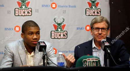 Giannis Antetokounmpo Milwaukee Bucks general manager John Hammond, right, introduces first-round draft pick Giannis Antetokounmpo at a news conference, in Milwaukee