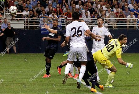 Casemiro, Juan Pablo Carrizo Real Madrid's Casemiro watches as a ball deflected by Inter Milan's Ricardo Alvarez finds the back of the net for a goal during the second half of an exhibition soccer match, at the Edward Jones Dome in St. Louis. Real Madrid won 3-0
