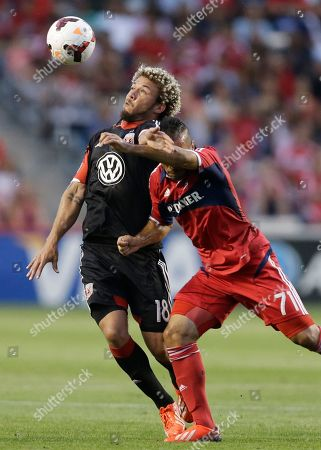 Nick DeLeon, Alex D.C. United midfielder Nick DeLeon, left, battles for the ball against Chicago Fire midfielder Alex during the first half of the Lamar Hunt U.S. Open Cup semifinal soccer match, in Bridgeview, Ill