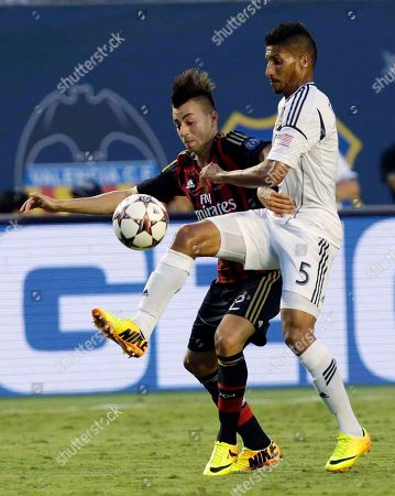 Sean Frankling, Stephan El Shaaraway Los Angeles Galaxy defender Sean Franklin (5) is challenged by AC Milan forward Stephan El Shaarawy during the second half of the International Champions Cup third-place soccer game, in Miami Gardens, Fla. AC Milan won 2-0