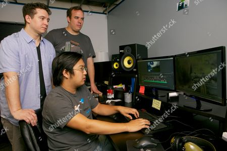 Desmond Dolly, Freddie Wong, Matt Arnold Rocket Jump Studios co-founders and partners, from left: Desmond Dolly, Freddie Wong, and Matt Arnold pose for a photo at their studio in Burbank, Calif. Rocket Jump Studios in collaboration with Collective Digital Studio will unleash the anticipated second season of the breakout online action-comedy scripted series Video Game High School on RocketJump.com and YouTube. The new season, from Freddie Wong, co-creator of the YouTube phenomenon that is FreddieW, and Matt Arnold, VGHS co-creator and co-founder of RocketJump.com, follows the blockbuster first season - which garnered more than 55 million views across its nine episodes and behind-the-scenes content to rank among the most watched original scripted digital short-form series of all-time