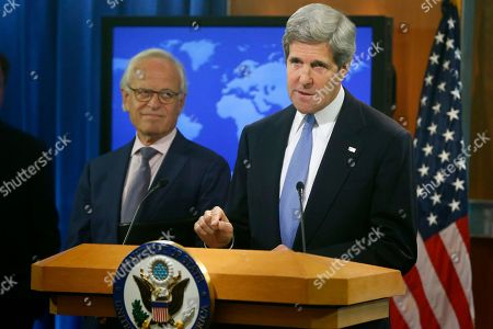 John Kerry, Martin Indyk Secretary of State John Kerry, accompanied by former U.S. Ambassador to Israel Martin Indyk speaks at the State Department in Washington, where he announced that he Indyk will shepherd the Israeli-Palestinian peace talks
