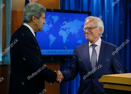John Kerry, Martin Indyk Secretary of State John Kerry shakes hands with former U.S. Ambassador to Israel Martin Indyk at the State Department as he announces that Indyk will shepherd the Israeli-Palestinian peace talks beginning in Washington