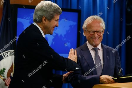 John Kerry, Martin Indyk Secretary of State John Kerry stands with former U.S. Ambassador to Israel Martin Indyk at the State Department as he announces that Indyk will shepherd the Israeli Palestinian peace talks beginning in Washington
